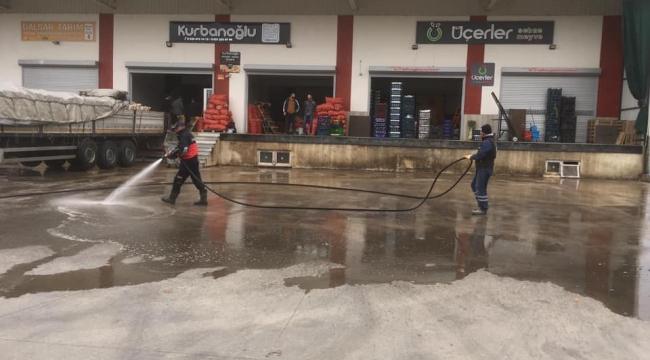 TOPTANCI HALİ DEZENFEKTE EDİLDİ